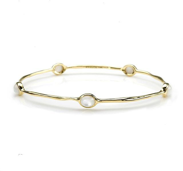 18KY Gold 5-Stone Mother-of-Pearl Bangle