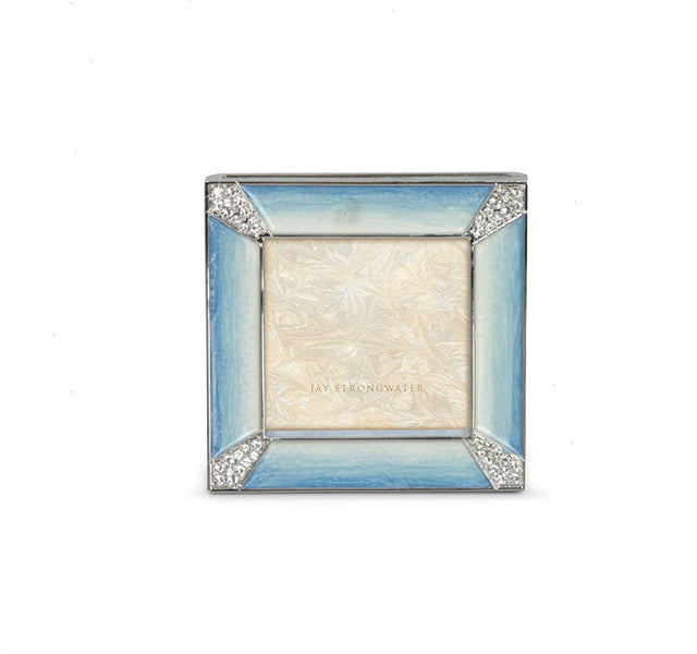 "Leland Pave Corner 2"" Square Frame in Pale Blue"