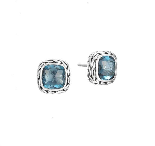 Classic Chain Blue Topaz Stud Earrings