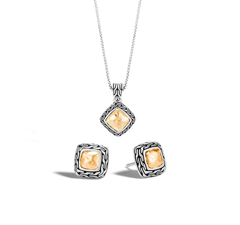 Classic Chain Heritage Earring and Pendant Set in Silver and Gold