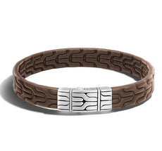 Classic Chain Station Men's Bracelet in Brown Leather
