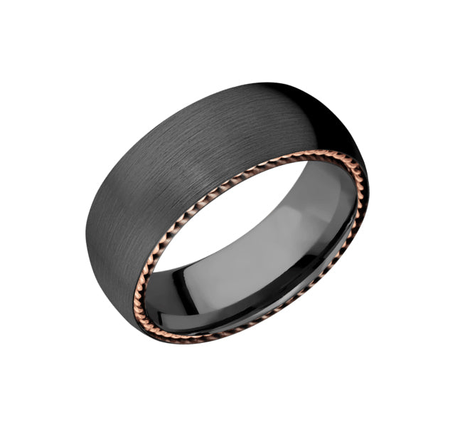 Zirconium 8mm Band With 14k Rose Gold Side Braid