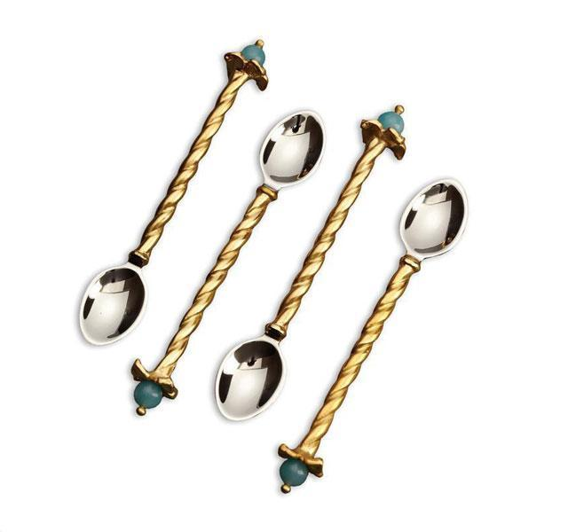 Venise Dessert Spoons with Amazonite