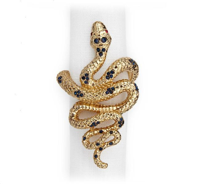 Gold Snake Napkin Rings Set of 4