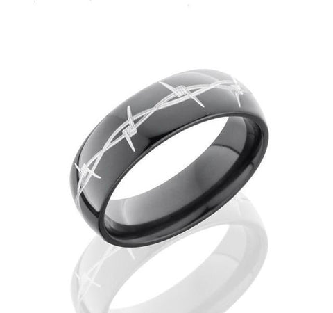 Barbed Wire Pattern Zirconium Band
