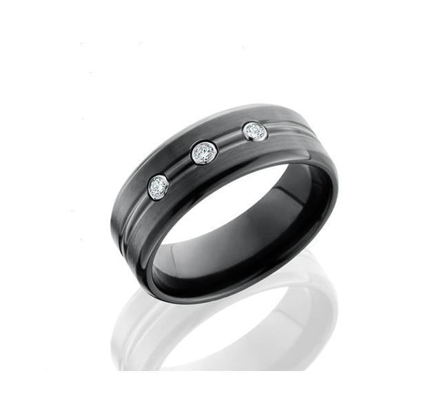 Black Zirconium and Diamond Band