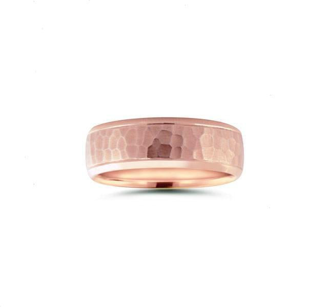Hammered Finish Band in Rose Gold