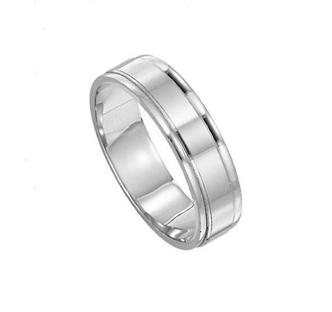 Platinum Mens Grooved Band