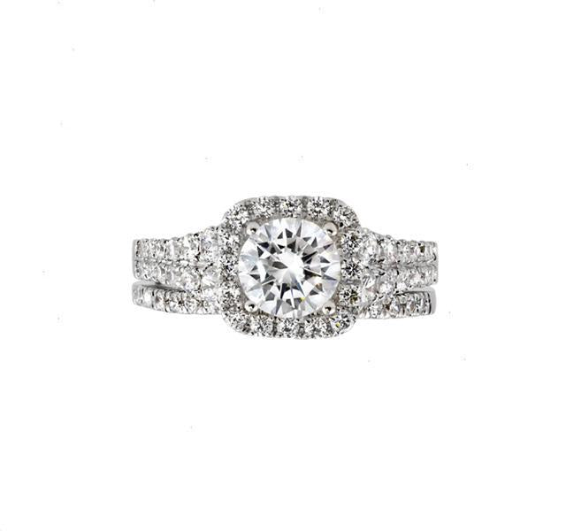 Double Row Diamond Engagement Ring Setting