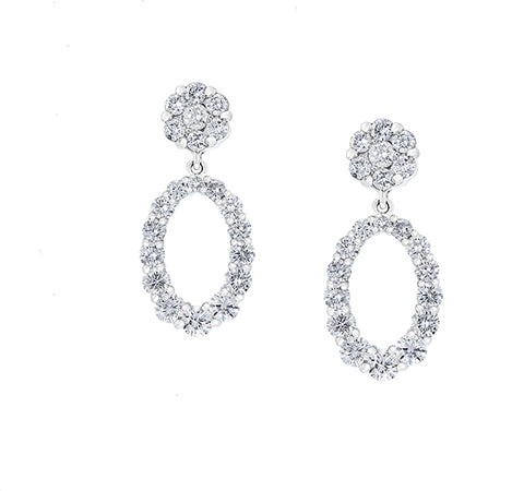 Diamond Cluster and Oval Drops Earrings