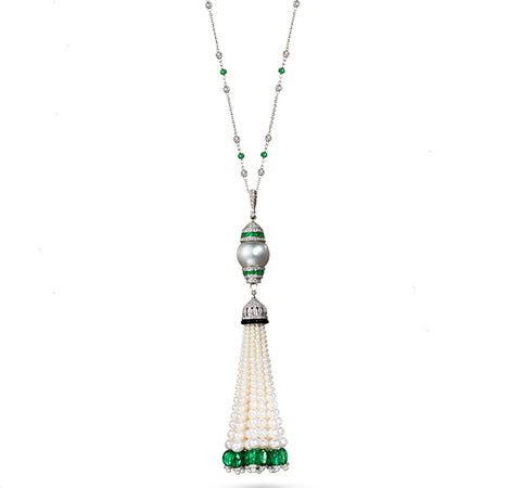 Pearl and Gemstone Tassel Long Necklace