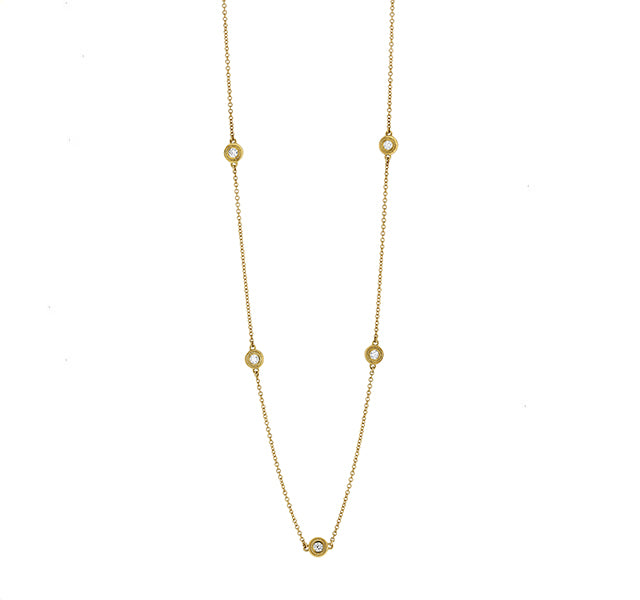 Five Diamond Station Necklace in Yellow Gold