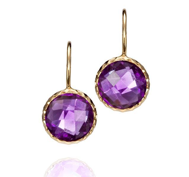 Dark Amethyst Gold Earrings