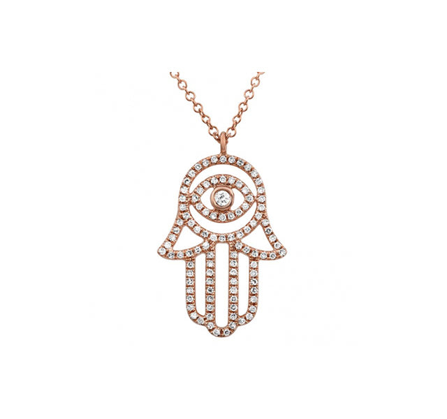 Hamsa Necklace With Diamonds In 14k Rose Gold