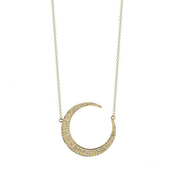 Diamond Moon Necklace in Yellow Gold