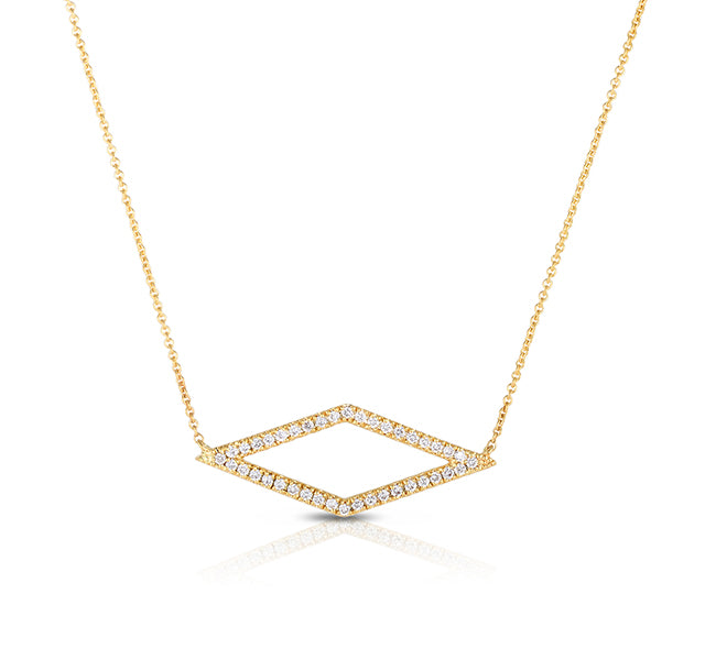 Open Diamond Shaped Necklace in Yellow Gold
