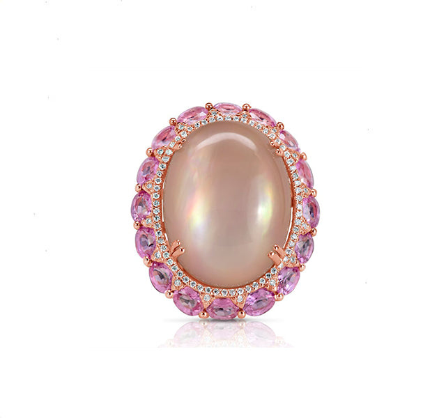 Rose Quartz, Pink Sapphire and Diamond Ring in Rose
