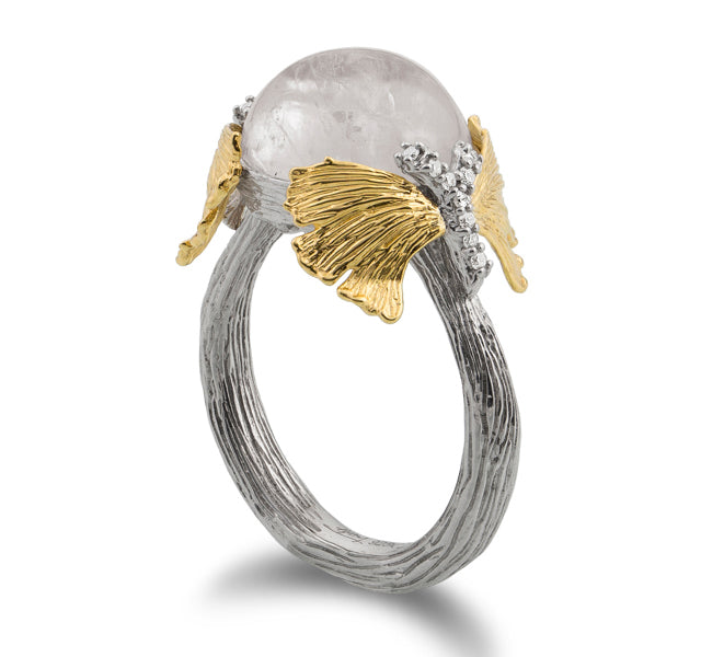 Double Butterfly Dome Ring with Moonstone in Silver and Gold