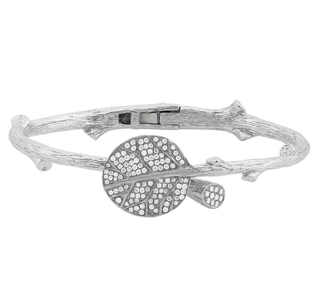 Botanical Leaf Bangle with Diamonds in Silver