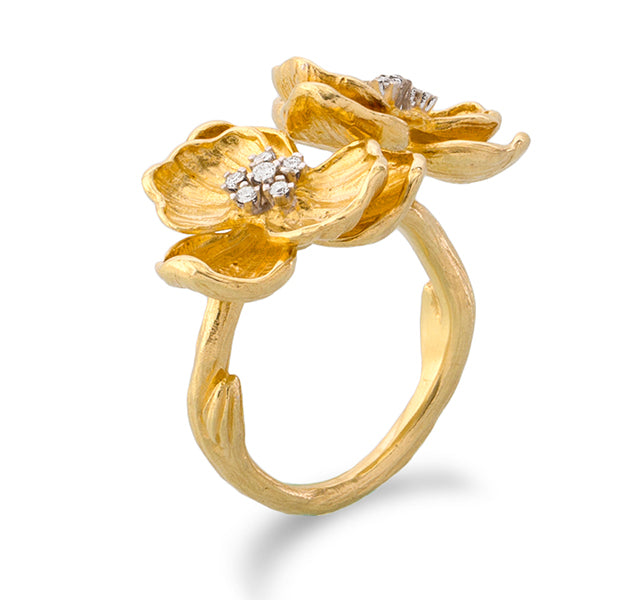Orchid Ring with Diamonds in Gold