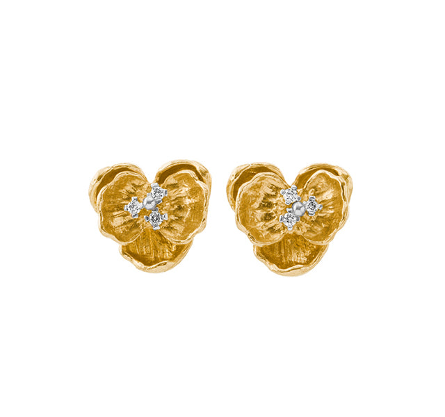 Orchid Studs with Diamonds in Gold