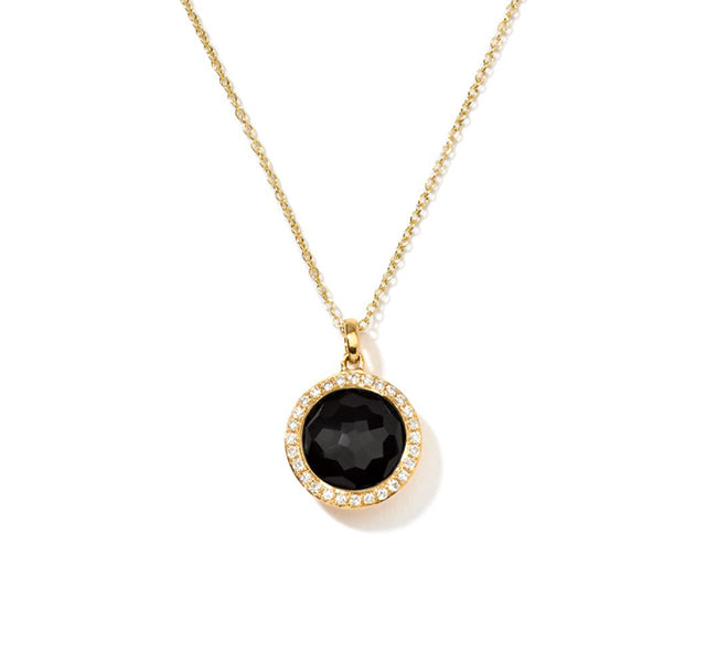 Mini Pendant Necklace in 18K Gold with Diamonds