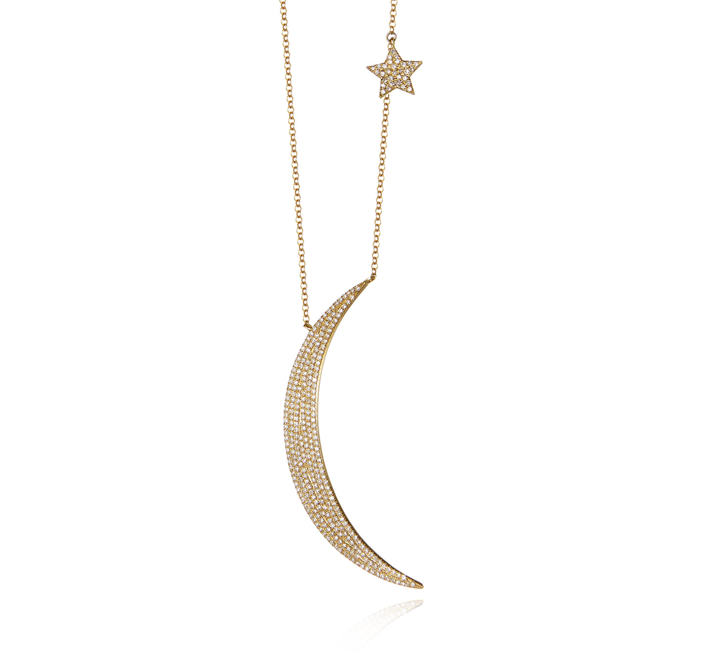Large Moon and Star Necklace in Gold