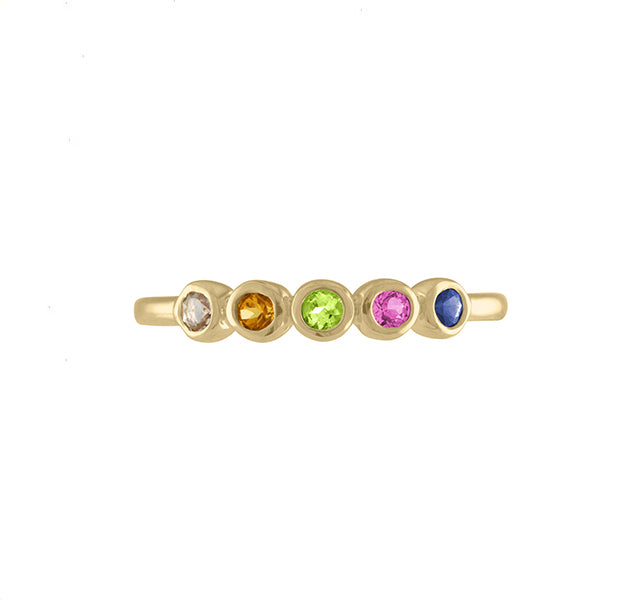 The Multi Color Mix Senna Ring in Yellow Gold