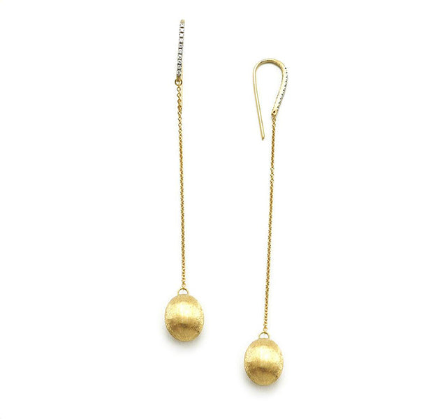 Dancing In The Rain Drop Earrings in Gold with Diamonds