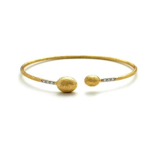 Dancing In The Rain Open Cuff Bangle with Diamonds