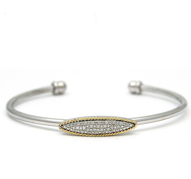 Open Cuff Bangle with Diamonds in Sterling Silver