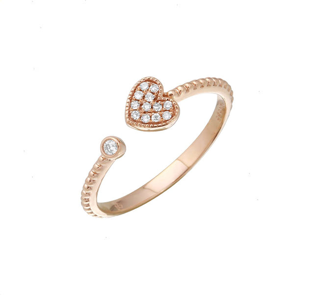 Pav Heart Cuff Ring With Beaded Shank