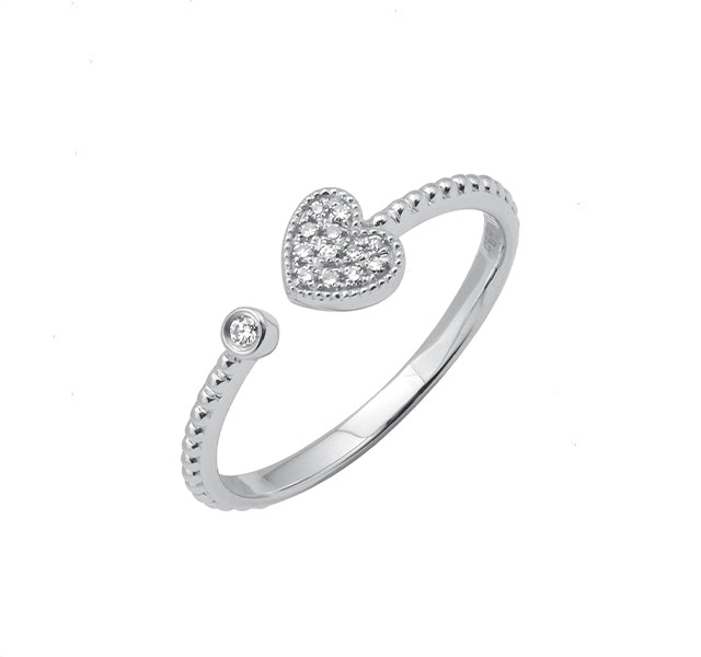 Pavé Heart Cuff Ring With Beaded Shank