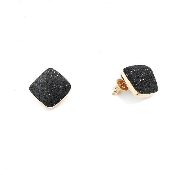 DOMED SQUARE STUD EARRINGS WITH BLACK POLVERE
