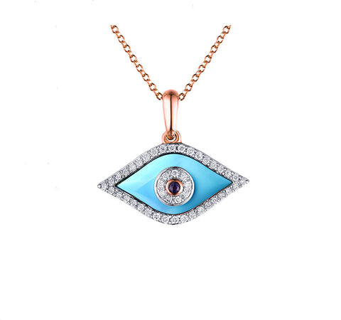 Turquoise, Sapphire and Diamond Evil Eye Pendant in Rose
