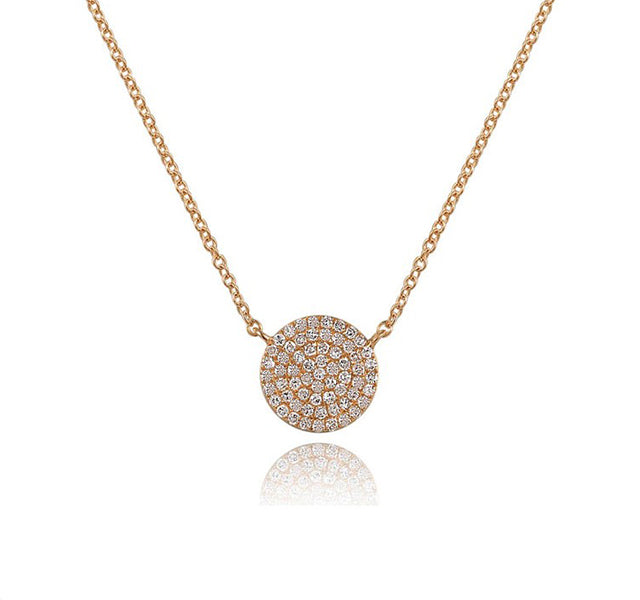 Pavé Disc Necklace With Diamonds In 14k Rose Gold