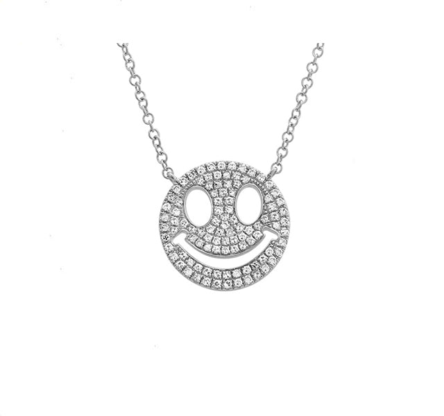Diamond Smile Emoji Pendant in White