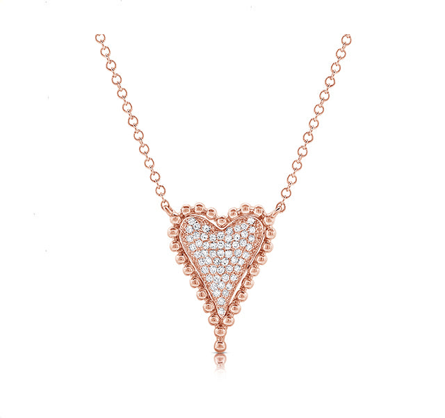 Diamond Heart with Beaded Edge Pendant