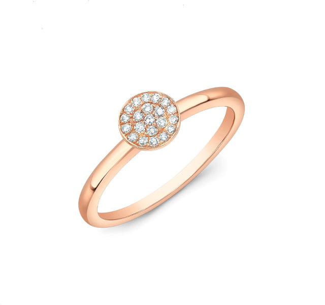 Diamond Disc Ring in Rose Gold
