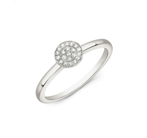 Diamond Disc Ring in White Gold