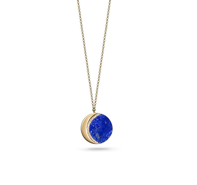 Crescent Moon Necklace with Lapis in Gold