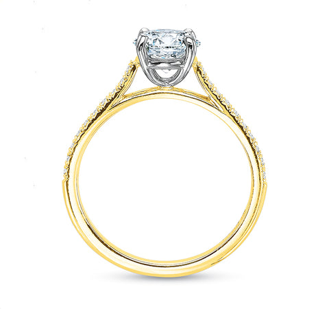 New Aire Engagement Ring Setting with Diamonds in 18KY