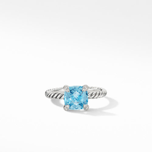 Chatelaine® Ring with Blue Topaz and Diamonds