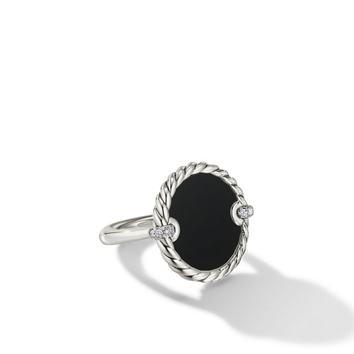 DY Elements Ring with Black Onyx and Pavé Diamonds
