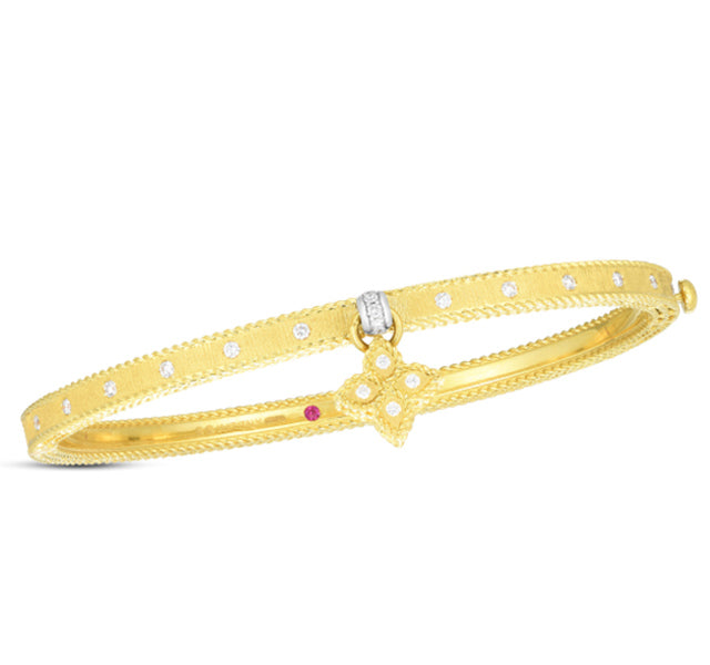 Symphony Princess Flower Bangle in Yellow Gold
