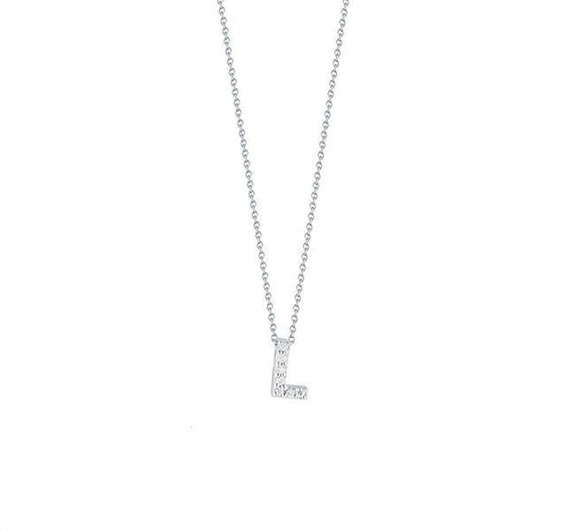"Tiny Treasures Diamond Love Letter ""L"" in White Gold"