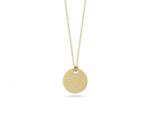 "Tiny Treasures Initial Disc Pendant with Diamond ""C"" in Yellow Gold"