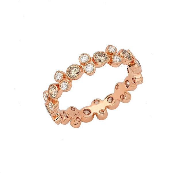 White and Cognac Diamond Eternity Band