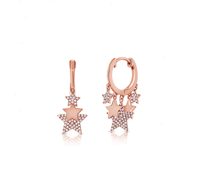 Huggie Hoops With Dangling Stars In Rose Gold