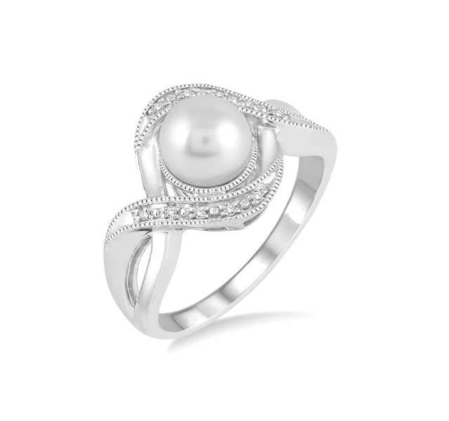 Pearl And Diamond Bypass Ring In Sterling Silver